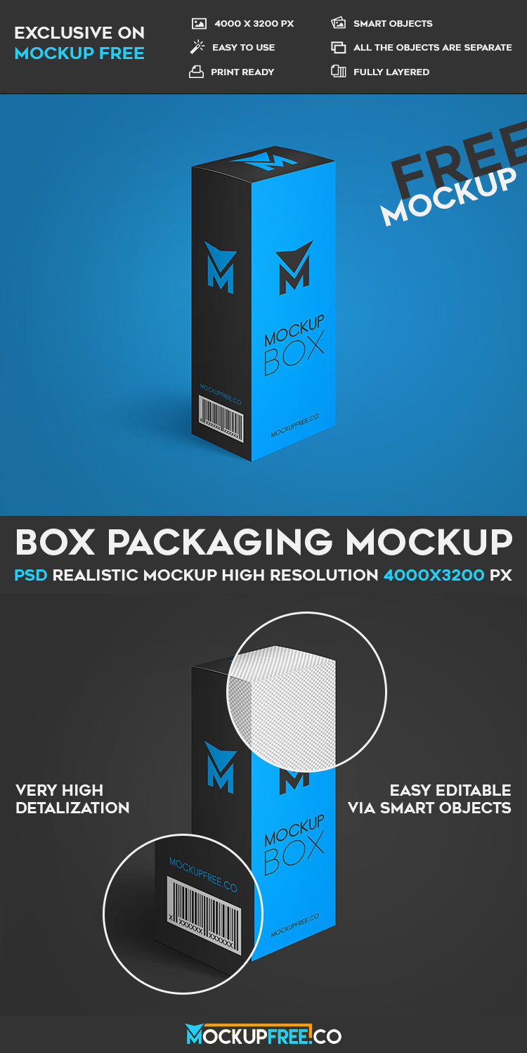 Download Box Packaging - Free PSD Mockup | Download
