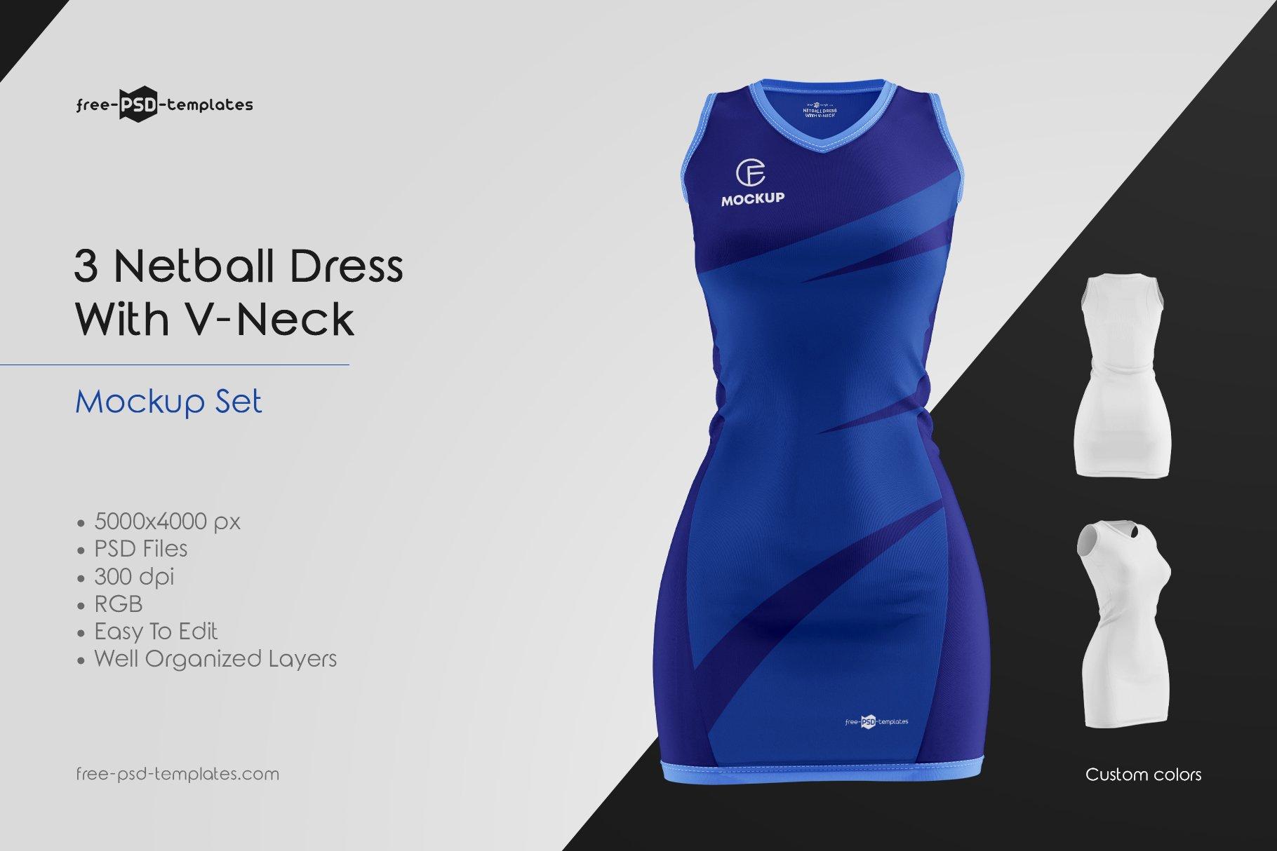 Layered psd easy smart object insertion. Netball Dress With V Neck Mockup Set Mockupfree Co