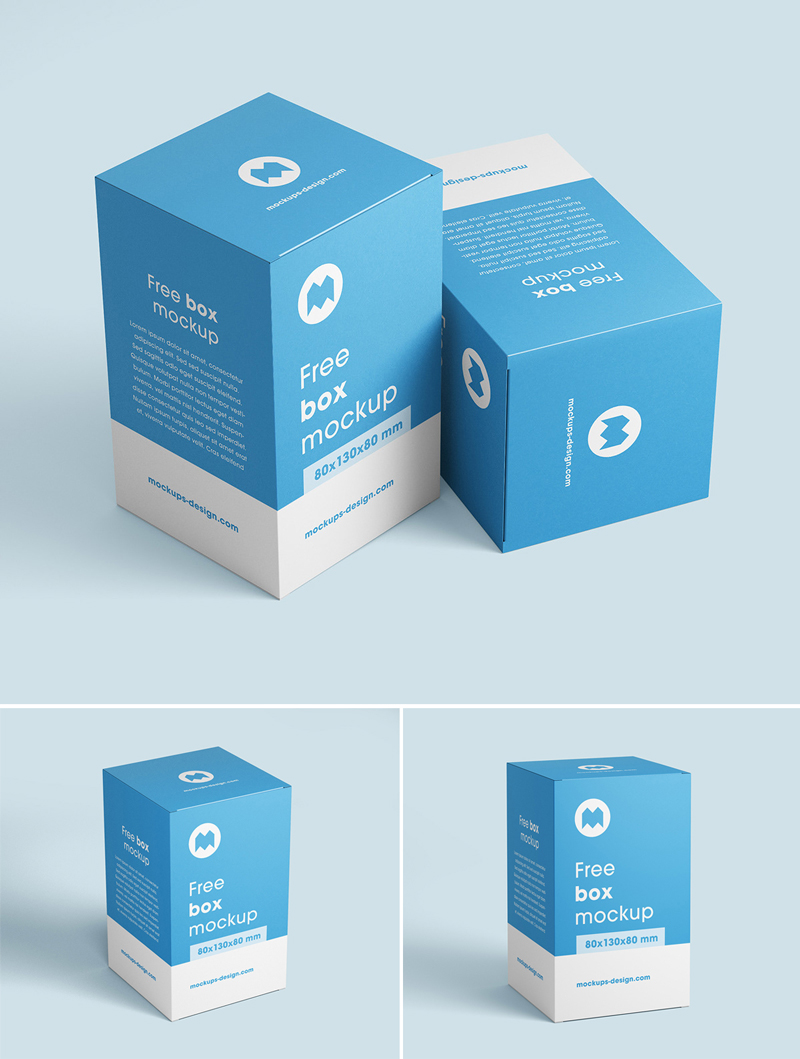 Download Free Box Mockup / 80x130x80 mm - Mockup Planet