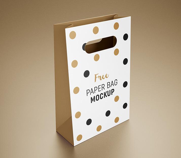 Jumbo paper gift bag with rope handle mockup, perspective. Free Gift Bag Mockup Mockups Design