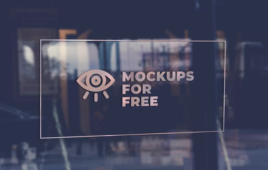 Logo On The Glass Door Mockups For Free