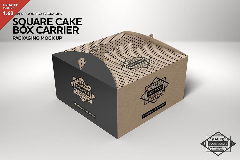 Download Square Cake Carrier Packaging Mockup