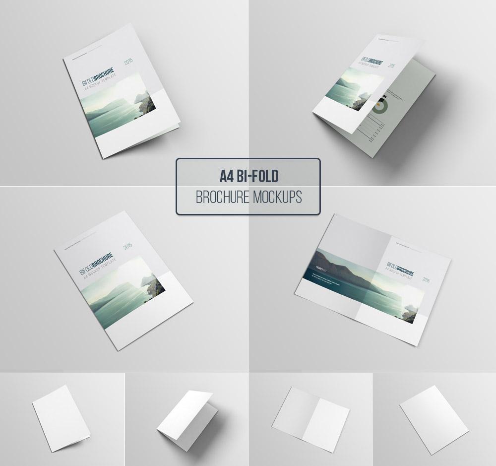 Download Free A4 Bifold Brochure Mockup | Mockuptree