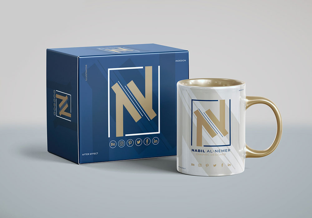 Download Free Box with Mug Mockup | Mockuptree