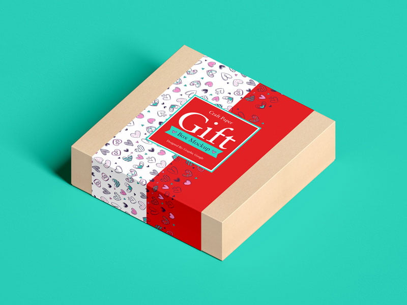 Download Free Craft Paper Square Gift Box Mockup | Mockuptree