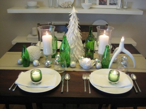 christmas table decoration ideas - Green Christmas Table Decorations