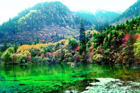 valley Jiuzhaigou -Valley of Nine Villages- is a spectacular national park-Sierra Min Shan, China 4