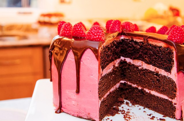delicious chocolate cake with rasberry Buttercream