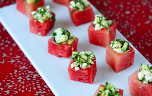 easy and refreshing watermelon,mint and feta treat