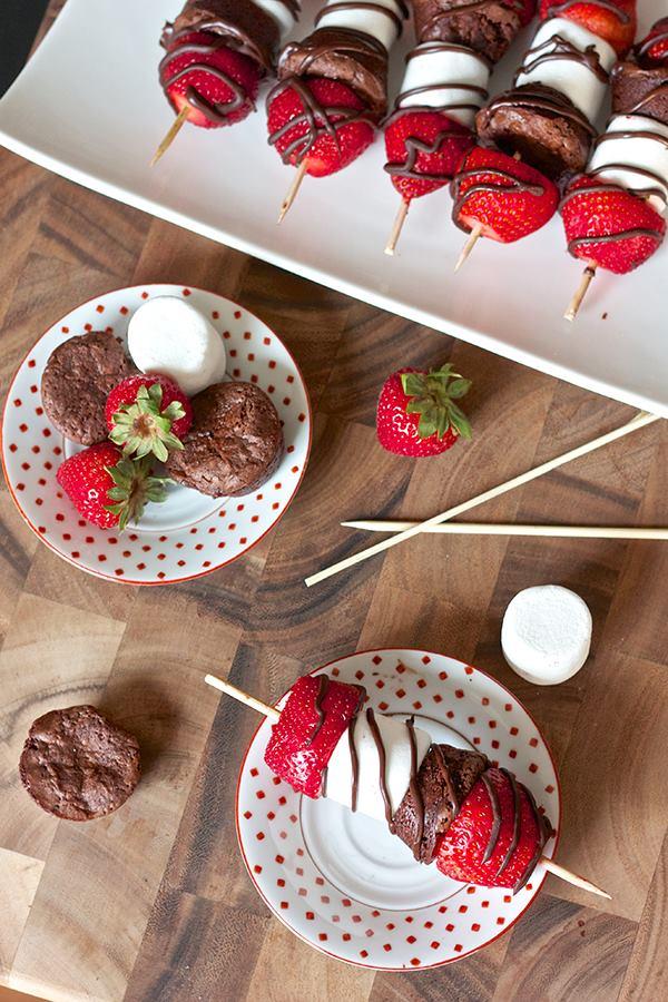 Strawberry Brownie Kabobs | moco-choco