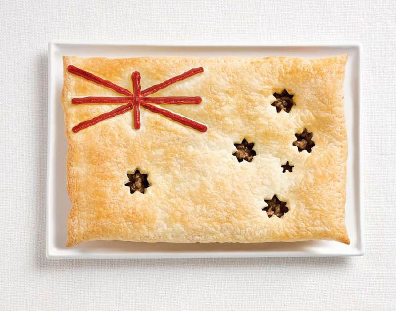 national flags made from each country's traditional foods, Australia