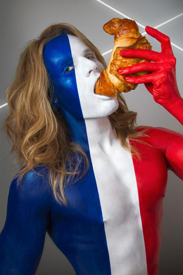 Body-Painted-Models-Eating-Their-National-Foods, France