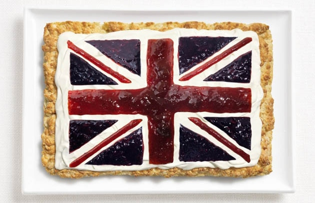 national flags made from each country's traditional foods, UK