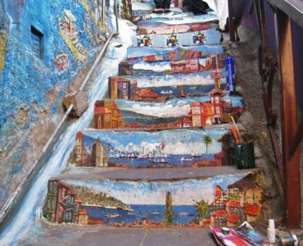 amazing stairs street art around the world, Chile 3