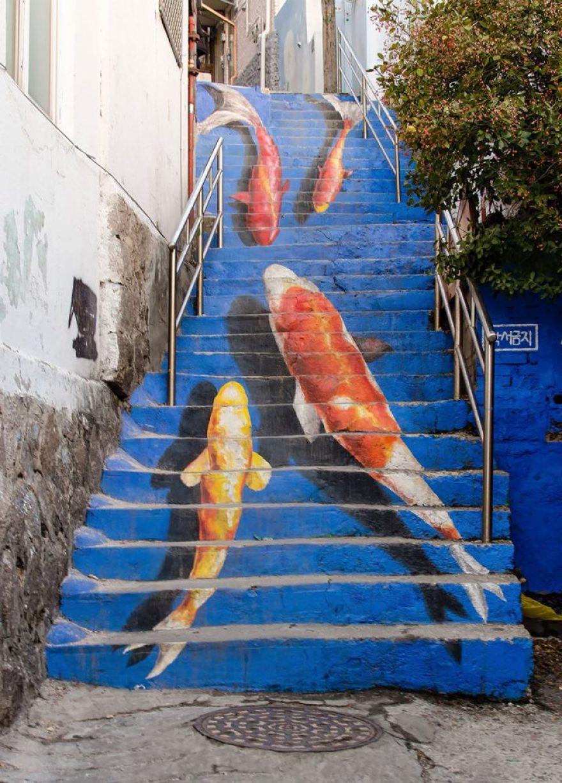nghệ thuật đường phố cầu thang tuyệt vời trên khắp thế giới - Hàn Quốc