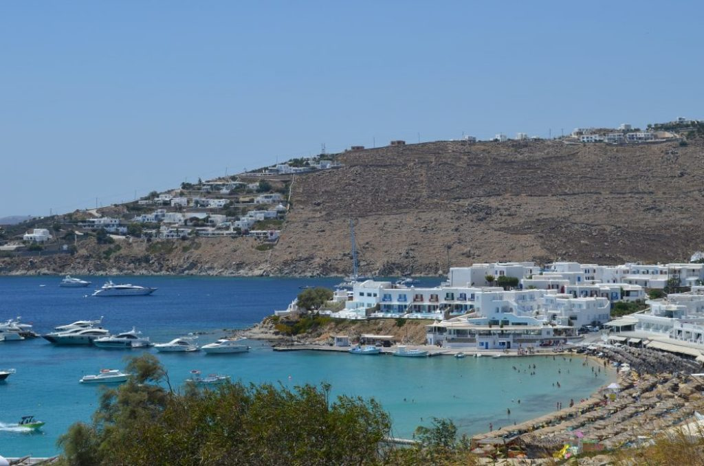 interesting things to see in Greek island Mykonos, Platys Gialos beach