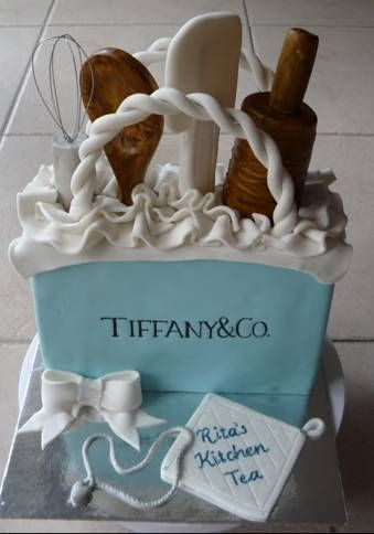 ideas for creative cake design, Tiffany & co cake