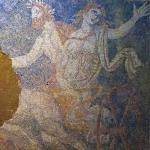 Interior of the tomb in Amphipolis, mosaic Pluto and Persephone