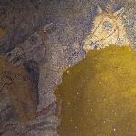 Interior of the tomb in Amphipolis, mosaic horses