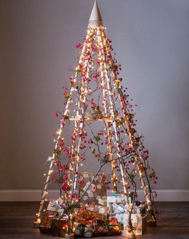 diy unusual christmas tree decorated with crabapple branches - Greek Christmas Decorations