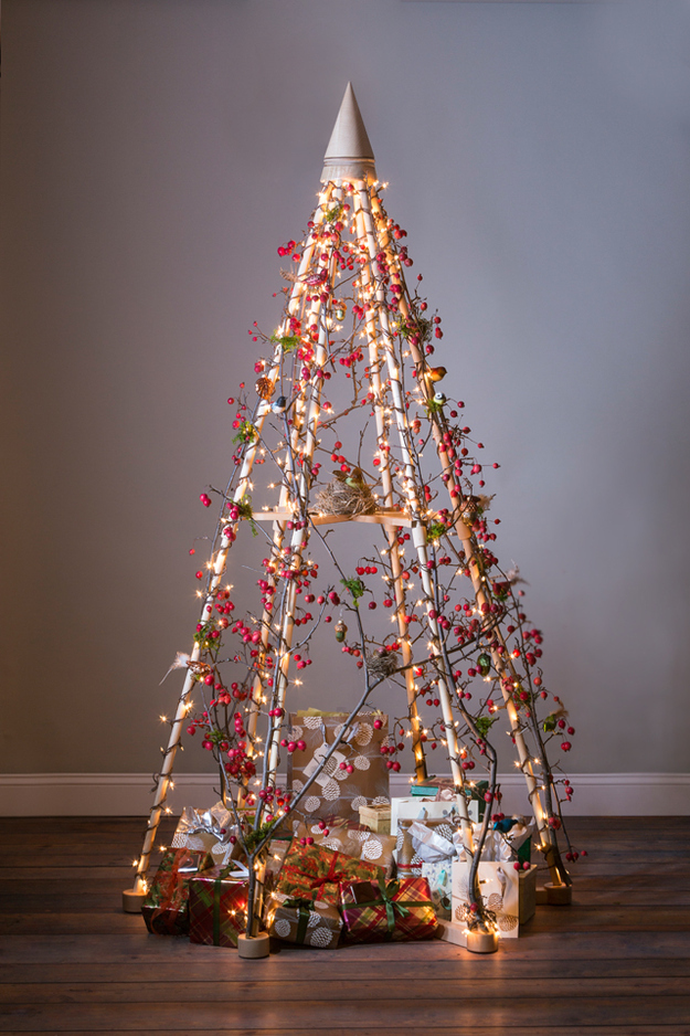 DIY Unusual Christmas Tree, Decorated With Crabapple Branches