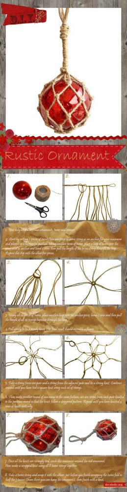Homemade rustic christmas ornaments - Diy Christmas Ornament Macrame