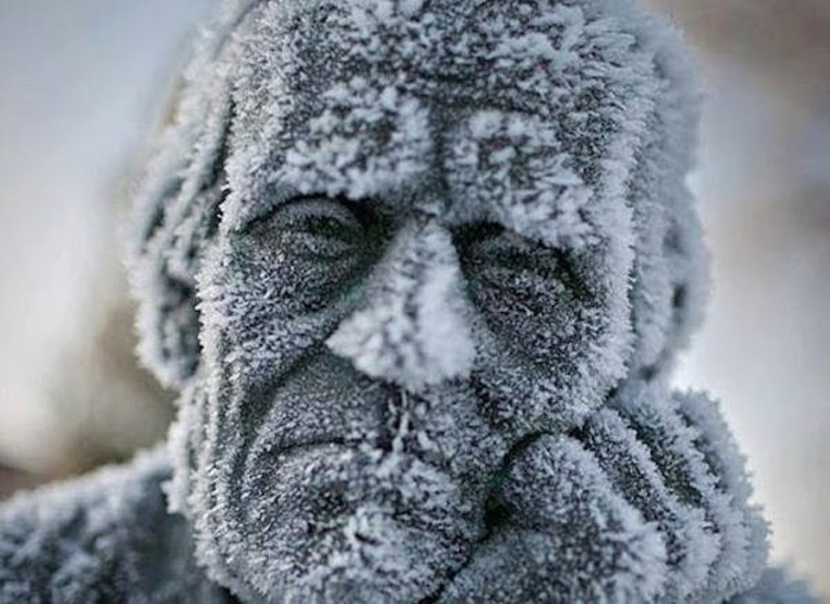 Frozen art by nature, statue