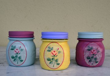 painted summer jars with decoupage technique 3