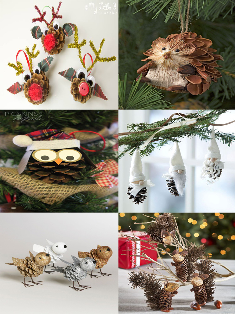holiday homemade pinecone xmas ornaments 36