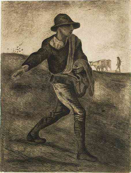 art history, the earliest paintings done by famous painters,The Sower