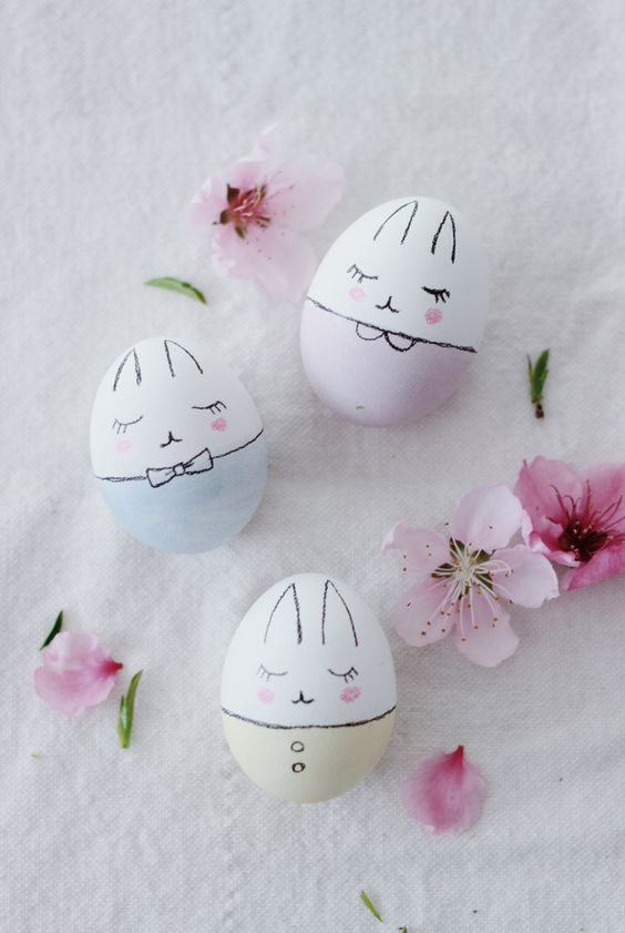 fun ways to dye easter eggs, bunnies