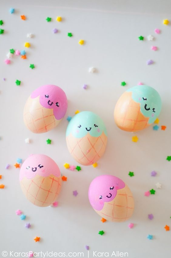 fun ways to dye easter eggs, ice cream cone