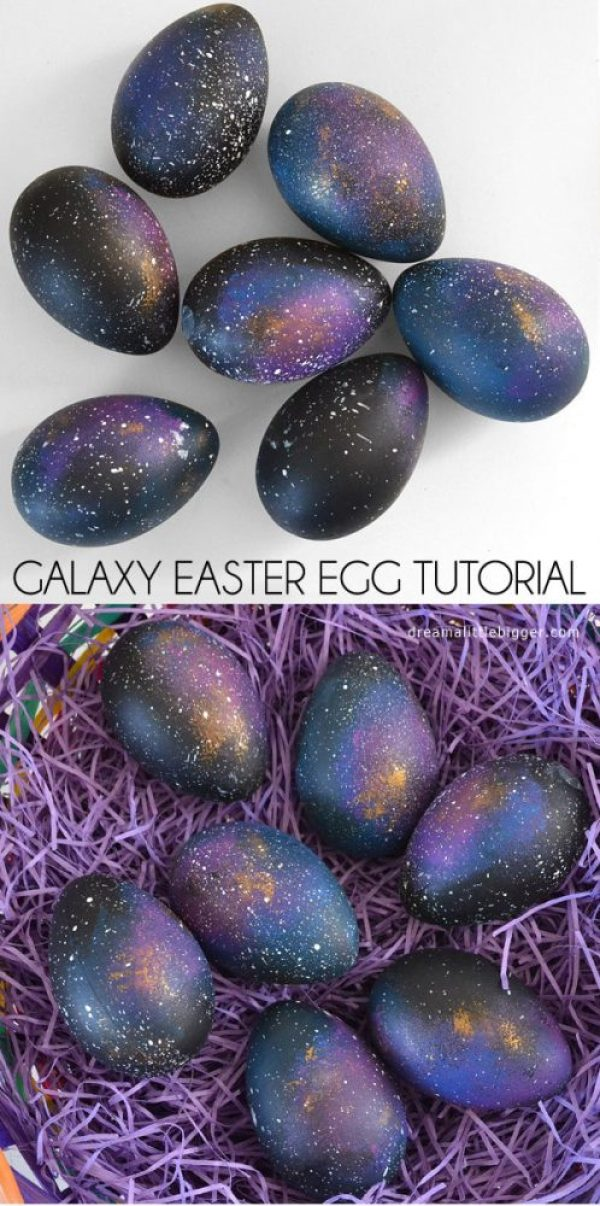 fun ways to dye easter eggs, galaxy