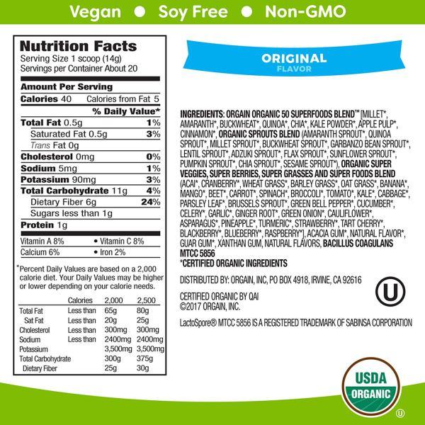 Organic Superfood - Back