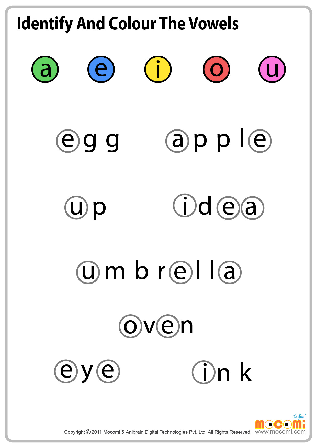 Vowel Fun Worksheet For Kids