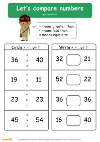 Compare Numbers Worksheet - Math for Kids | Mocomi