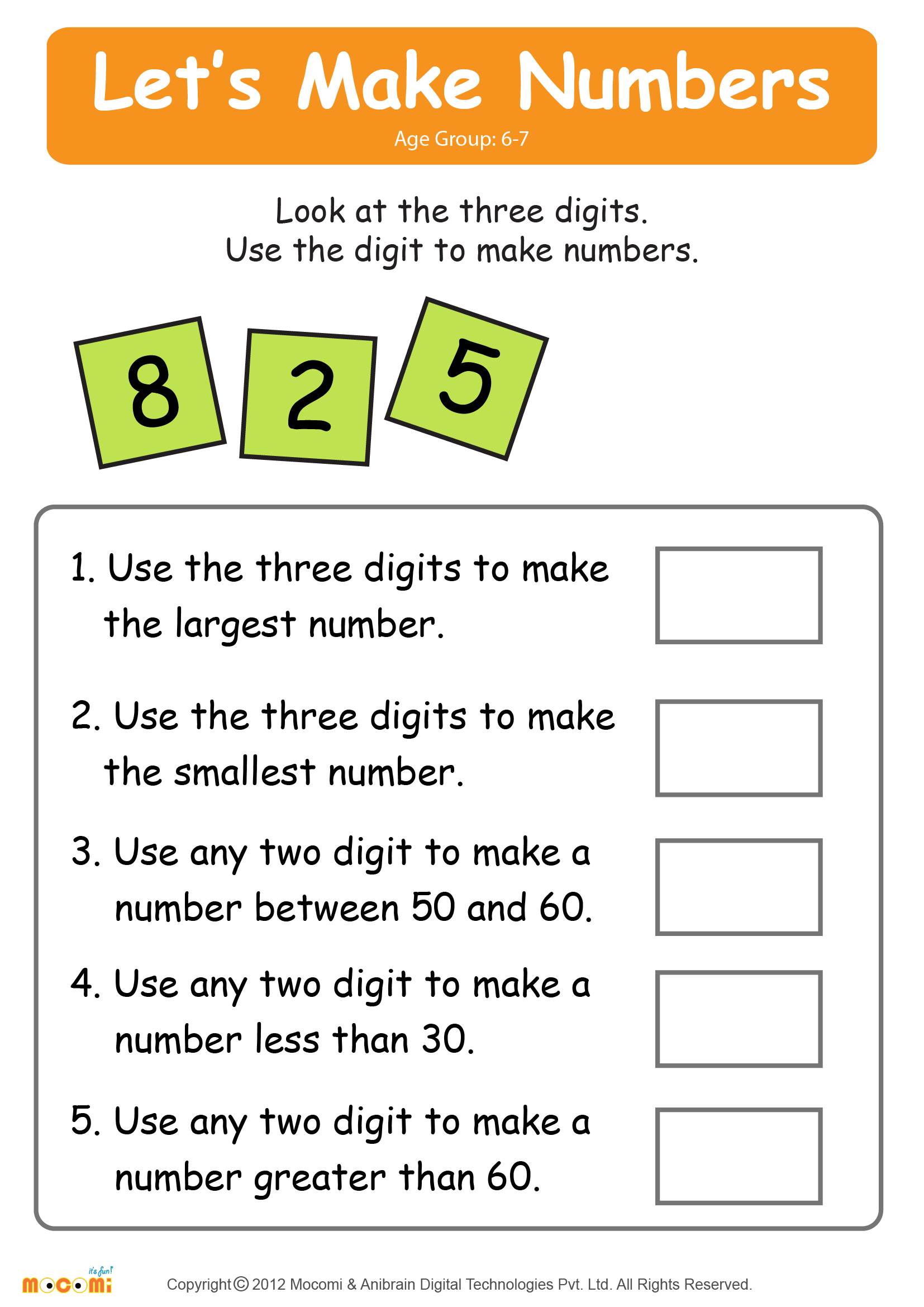 Make Numbers Worksheet