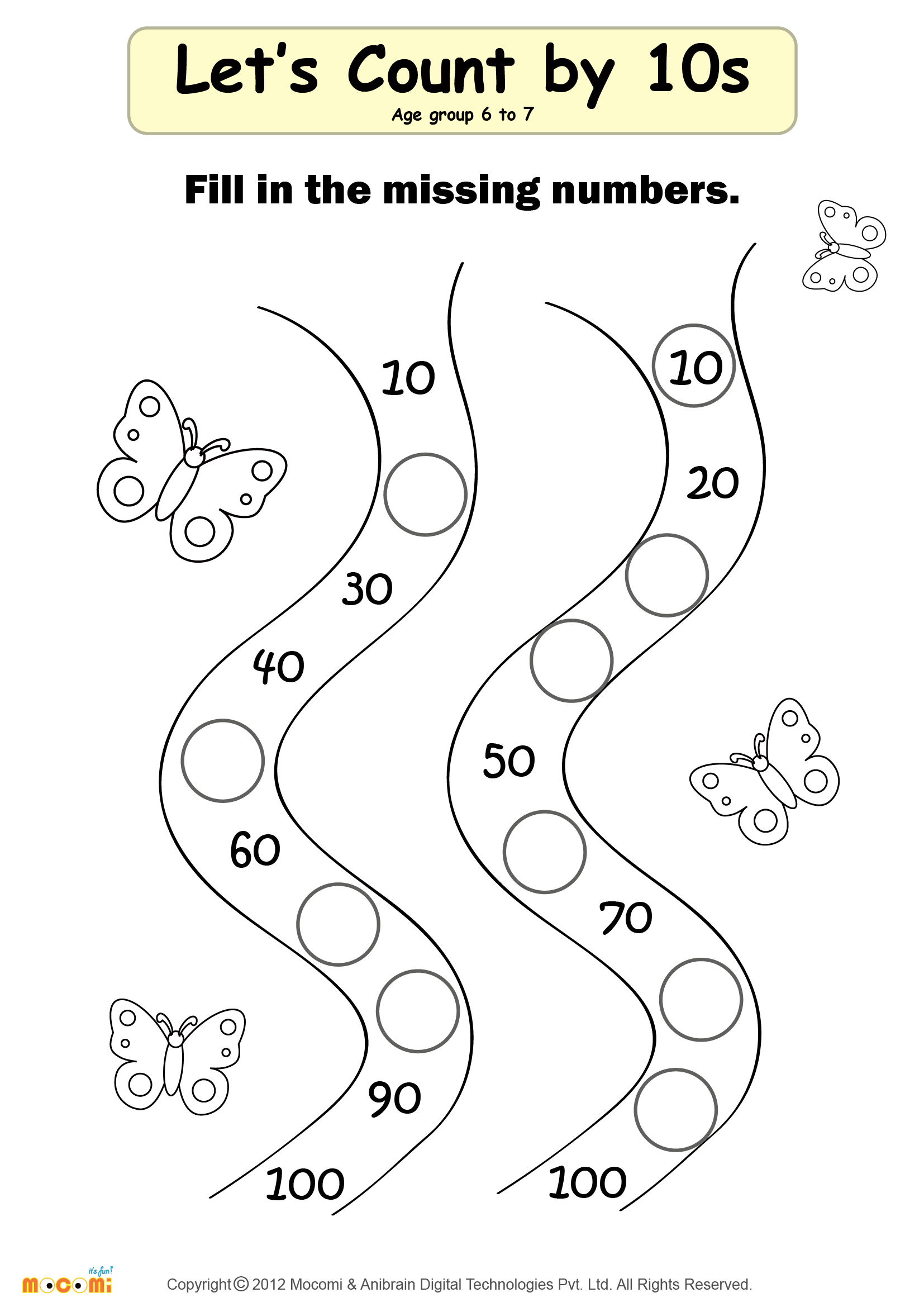Maths Worksheet For Kids Kindergarten Missing Numbers Cow