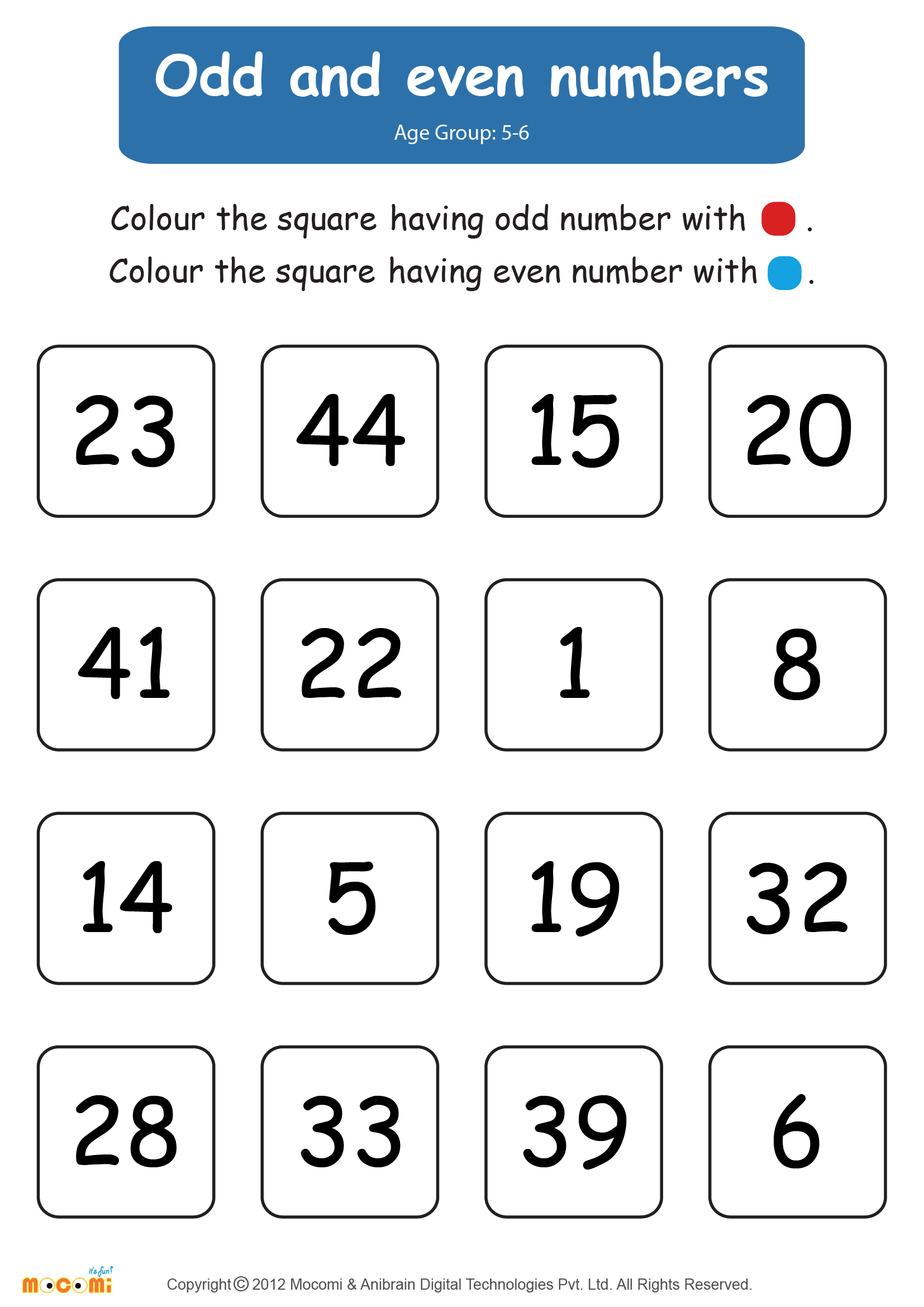 Odd And Even Numbers Worksheet For Kids