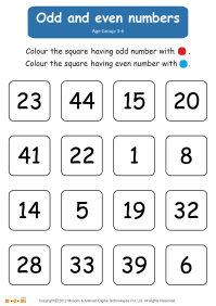Odd and Even Numbers Worksheet (for Kids)