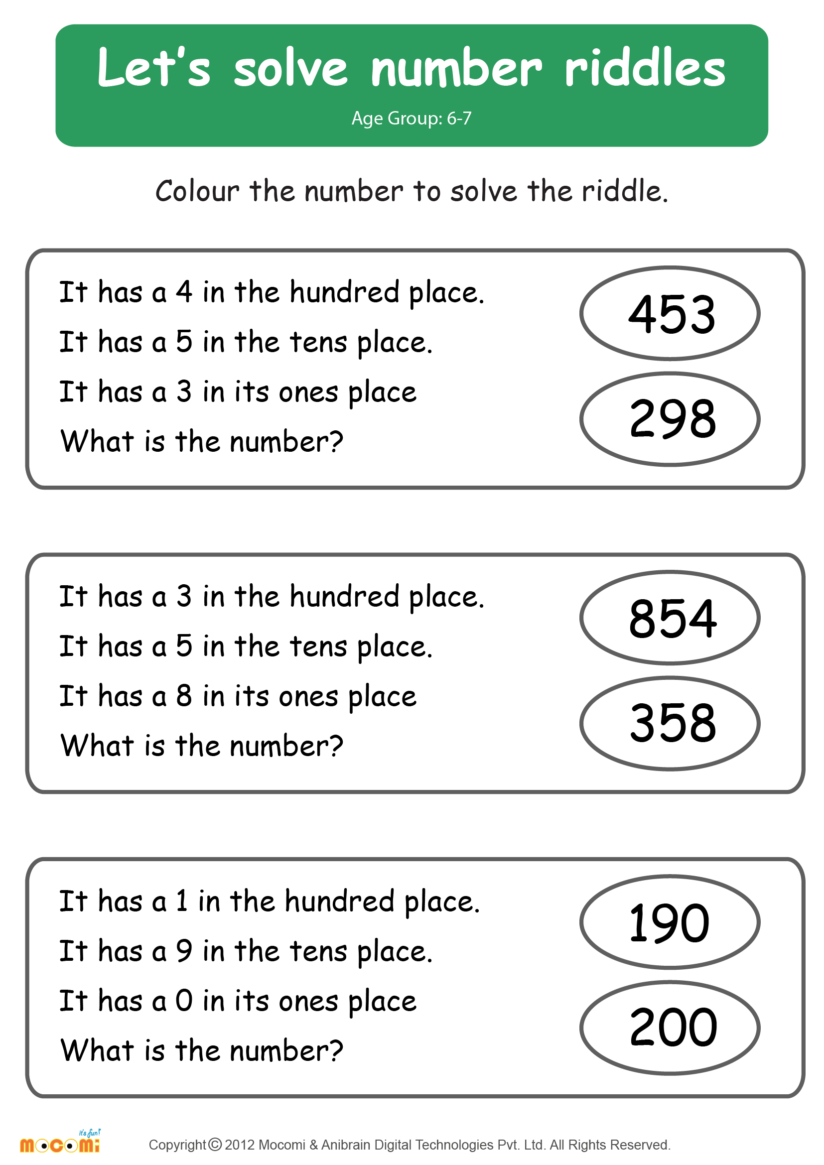 Riddle Me Math Worksheet