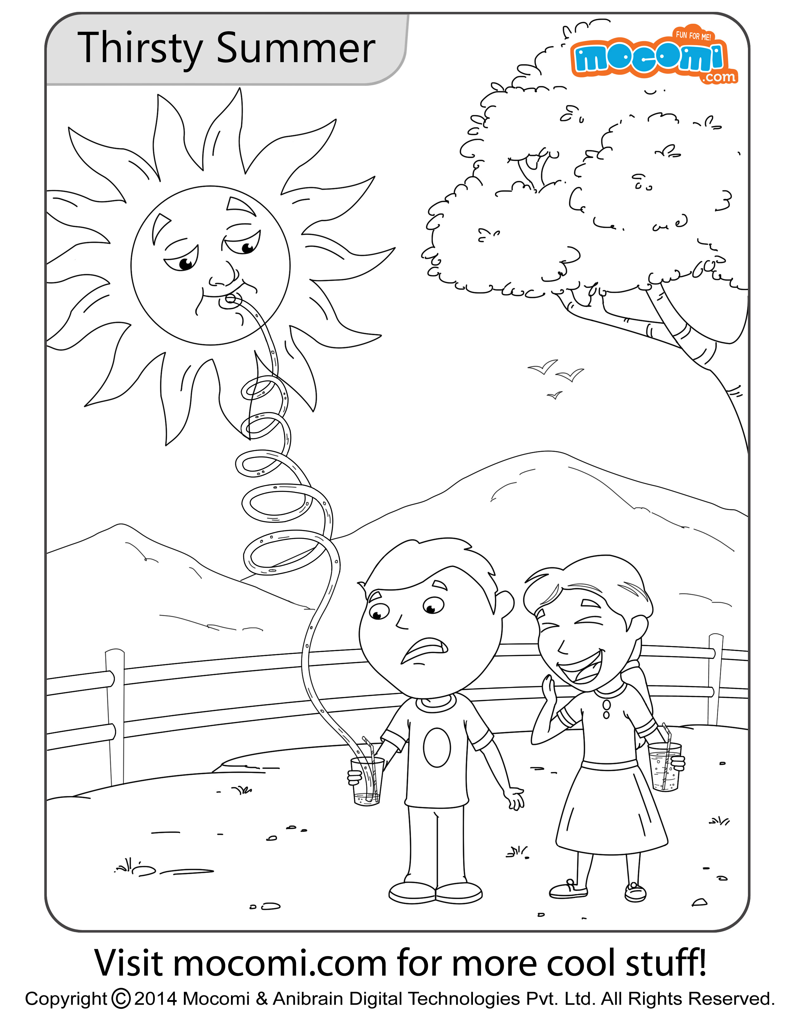Thirsty Summer Colouring Page