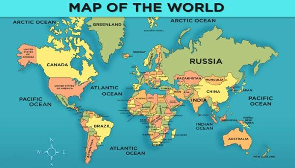 World Map with Countries General Knowledge for Kids Mocomi