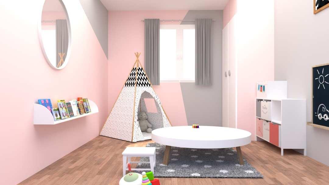 Chambre d'enfants modélisée en 3D en rendu réaliste vue 3
