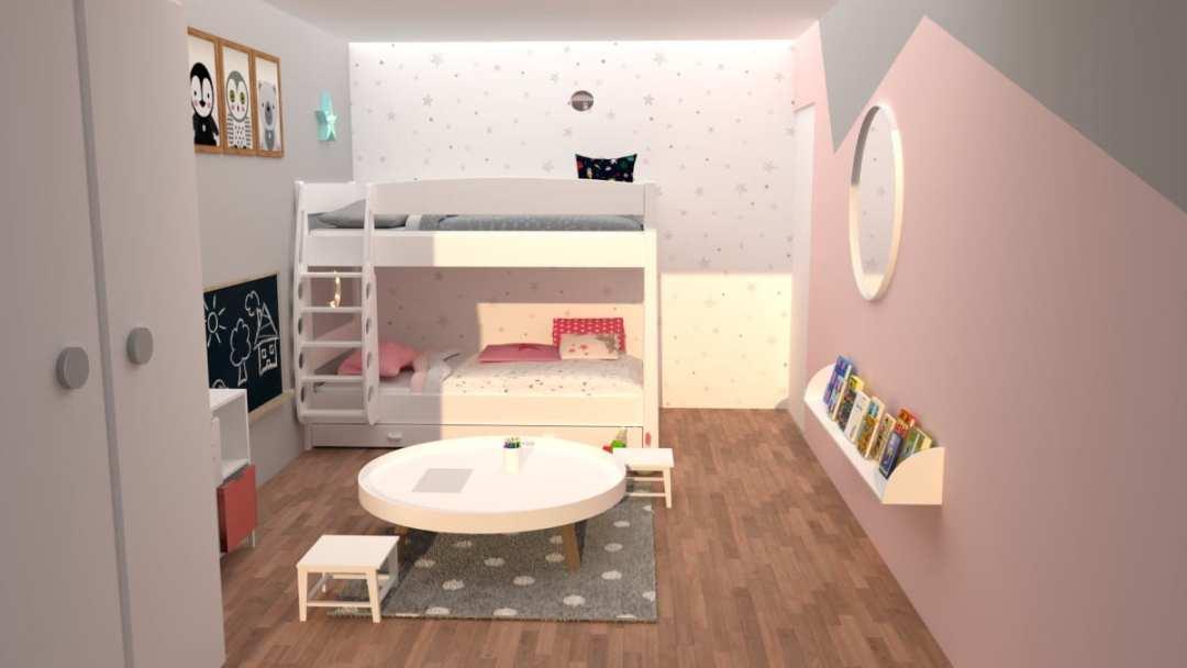 Chambre d'enfants modélisée en 3D en rendu réaliste vue 1