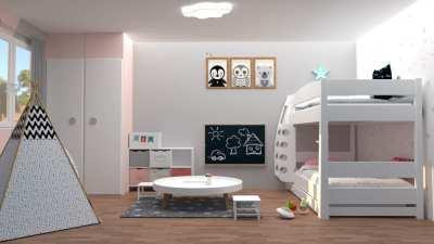 Chambre d'enfants modélisée en 3D en rendu réaliste vue 2