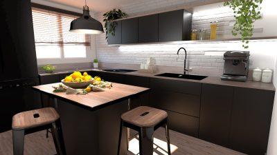 Image montrant une cuisine industrielle modélisée en 3D en rendu réaliste vue 2