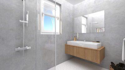 Image montrant une salle de bain déco brut modélisée en 3D en rendu réaliste vue 1