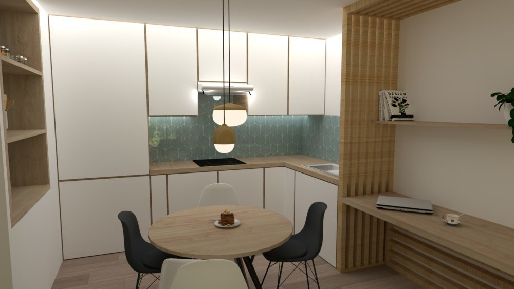 Image montrant une cuisine ouverte modélisée en 3D