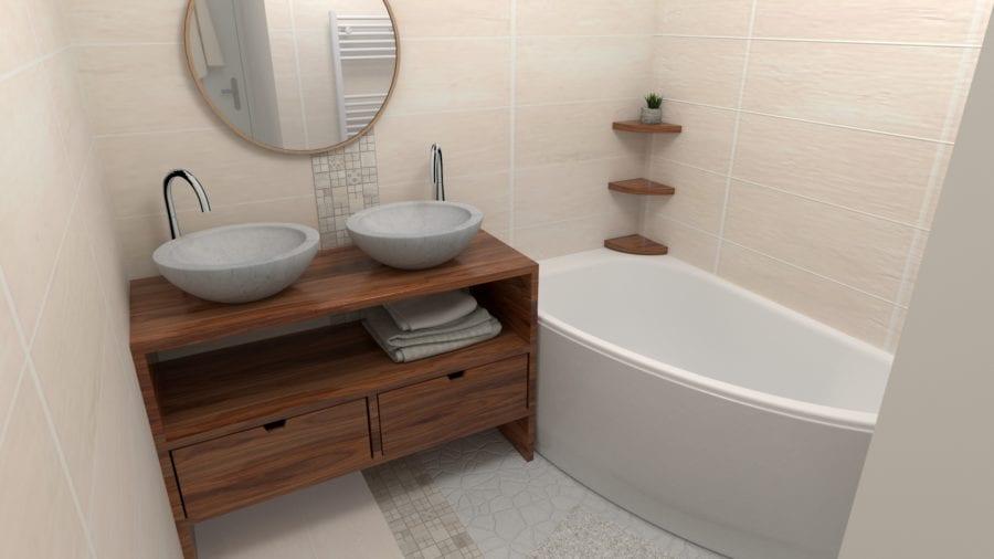 Image montrant la modélisation d'une toute petite salle de bain dans una ambiance zen